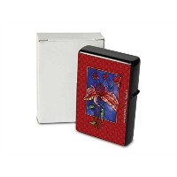 Printed Petrol lighter ライター beautiful red flower against blue background