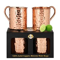A29 Moscow Mule Solid 100 % Pure Copper Unlined Mug / Cup, Set of 4 (16-Ounce/Set of 4, Smooth)...