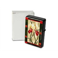 Printed Petrol lighter ライター red white flower