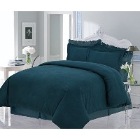 Tribeca Living Solid Flannel Heavy Weight Duvet Cover Set, Queen, Teal by TRIBECA LIVING [並行輸入品]