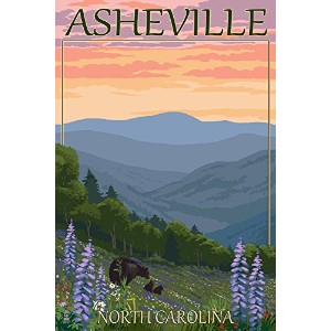 Asheville、ノースカロライナ州 – Spring Flowers And Bear Family 12 x 18 Art Print LANT-43330-12x18