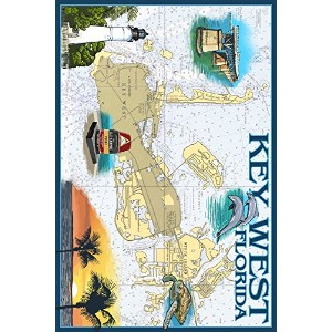 キーWest , Florida – Nautical Chart 24 x 36 Giclee Print LANT-34687-24x36