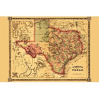 Texas – パノラマMap 24 x 36 Giclee Print LANT-19921-24x36