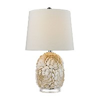 Diamond D2655 Natural Shell Table Lamp with Off White Linen Shade by Diamond Collection