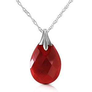 K14 Yellow, White, Rose Gold Necklace with Genuine Dyed Ruby Pendant