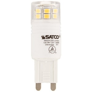 Satco S9224 T4 Replacement LED 3000K G9 Base Light Bulb, 3W by Satco