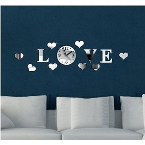 Joinwin Love Hearts 8 Hearts Mirror 3d DIY Wall Clock Acrylic Silver Color Creative Modern Wall...