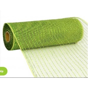 10 inch x 30 feet Deco Poly Mesh Ribbon - Metallic Moss and Apple Foil : RE130149 by Deco 79