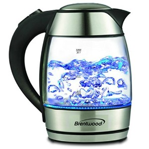 Electric Tea Kettle Glass Black Stainless Steel 1.8-liter Watter with Blue LED Modern by Brentwoods