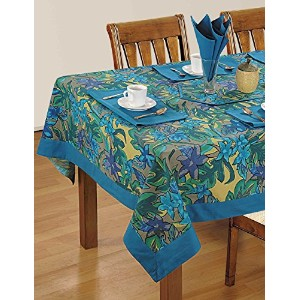 Colorful Multicolor Cotton Spring Floral Tablecloths For Dinning Room 60 X 84 Inches, Blue Border...