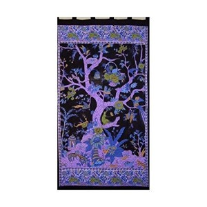 Tree of Lifeタブトップcurtain-drape-door panel-black /パープル