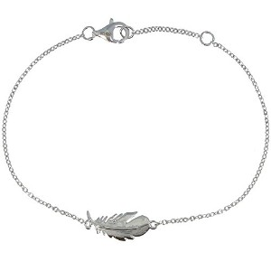 Les Poulettes Jewels–スターリングシルバーブレスレットwith Bird Feather