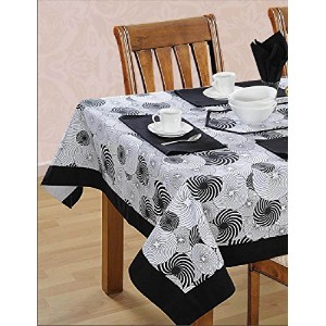 Black White Cotton Spring Floral Tablecloths For Dinning Room 60 X 60 Inches, Black Border by...