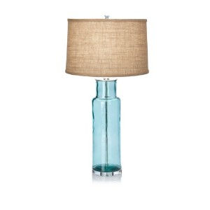 Lighting Accents Recycled Glass Cylinder Table Lamp, Blue by Lighting Accents