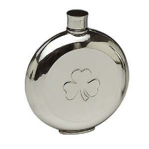 Mullingar PewterポケットWhiskey Flask withシャムロックデザイン