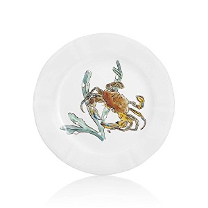ジアンFrench Luxury Grand Crustaces EarthenwareサラダプレートレッドCrab