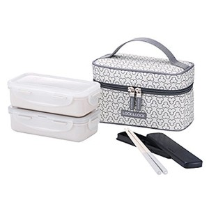 LocknLock Clover Bento Lunch Box Set with Bag & Chopsticks (Ivory) by LockandLock Lunch Box