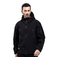 FREE SOLDIER Men Outdoor Tactical Softshell Jacket Waterproof Army Military Hooded jacket (Black XL...