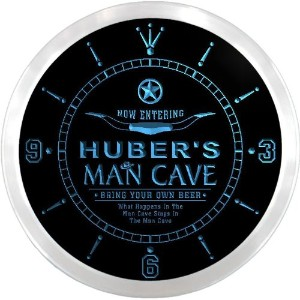 LEDネオンクロック 壁掛け時計 ncpb1987-b HUBER'S Man Cave Cowboys Beer Bar Pub LED Neon Sign Wall Clock