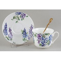 Roy Kirkham Wisteria Breakfast Cup and Saucer - Fine English Bone China by Imperial Porcelain...