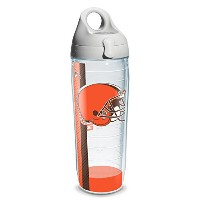 Tervis 1191064 NFL Cleveland Browns Wrap Individual Water Bottle with Gray lid, 24 oz, Clear by...