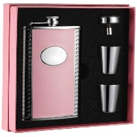Visol Pink Box Supermodel Leather Flask Gift Set, 8-Ounce, Pink by Visol