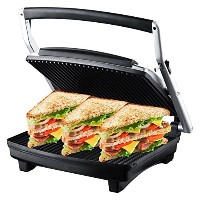ZZ S677 Gourmet Grill Panini and Sandwich Press with Large Cooking Surface 1500W, Silver by ZZ