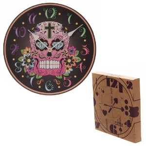 Black Background Day of the Dead Skull Wall Clock