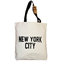 NYC Tote Bag Canvas Distressed New York City Gift Souvenir Black Straps by NYC FACTORY