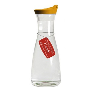 Grant Howard Beverage Glass Carafe and Decanter with Orange Screw Top, 1 L, Clear by Grant Howard