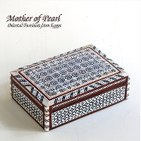 Mother of Pearl エジプト螺鈿のジュエリーボックス・長方形 Middle size12.5x7.5x3 rebox-f07navy