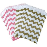 Outside the Box Papers Light Pink and Gold Chevron Treat Sacks 5.5 x 7.5 Pink, Gold, White by...