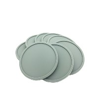 Grey Silicone Coasters- Set of 8, Round, Stackable by TASTEMKR