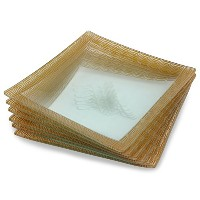 GAC Frosted Design Tempered Glass Lunch/Dinner Plates Set of 6 - Break and Chip Resistant - Oven...