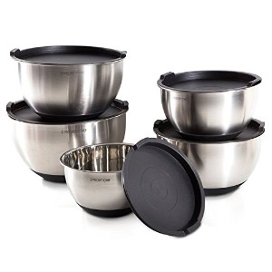 prioritychef 5Piece Mixing Bowls with Lids、大5クォート容量、ステンレススチール、非スリップシリコン下、Stackable for minimalストレージ...