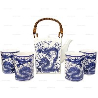 Happy Sales Japanese Porcelain Tea Set Imperial Dragonブルー