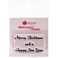 Woodware Craft Collection Stamps Sheet, 2.5 by 1.75-Inch, Merry Christmas and Happy New Year, Clear...