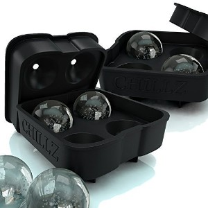 Chillz Ice Ball Maker - 2 Black Flexible Silicone Ice Trays - Mold 8 X 4.5cm Round Ice Ball Spheres...