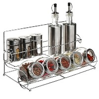 All-in-1 Stainless Steel Condiment Set With 2 Oil / Vinegar Bottle Cruets, 3 Shaker Spice Jars, 5...