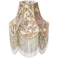 Meyda Tiffany 10435 Fabric And Fringe Chimney Lamp Shade, 11 Width by Meyda Tiffany