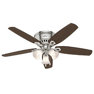 "Hunter Fan Company 53328 52"" Builder Low Profile Ceiling Fan with Light, Brushed Nickel"