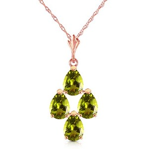 K14 Yellow, White, Rose Gold Necklace with Pear-shaped Peridots