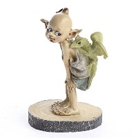 Painted Resin Miniature Boy Garden Pixie with Dragon Friend for Fairy Gardens, Terrariums, and...