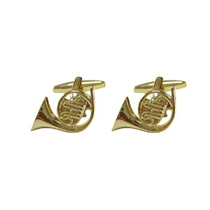 Gold Toned French Horn Music Instrument Cufflinks