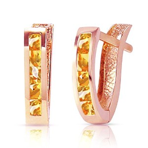 K14 Rose Gold Oval Huggie Earrings with Citrines
