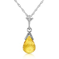 K14 White Gold Necklace with Briolette Citrine