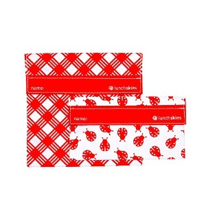 Lunchskins MP-PICNIC-RED Reusable Picnic Sandwich & Snack Bag Set, Red by LunchSkins