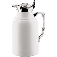 Alfiオパールガラス掃除機クロムメッキ真鍮Thermal Carafe for Hot and Cold Beverages、1.0 L、クロム 1.0 Liter ホワイト