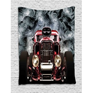 AmbesonneクラシックOld Cars Decorコレクション、ヴィンテージAmerican Hot Rod Roadster with Smoke Background Raceアート画像...