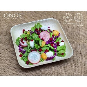 ONCE Tableware - QUADRO Small (Size : 5.60 x 5.60 x 0.80 inches)-Set of 25 Ecofriendly Disposable...